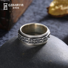 GOMAYA Men Women Ring Fine Jewelry Real 925 Sterling Silver Carving Flower Man Joint Ring Jewelry Gift Wholesale Bague(China)