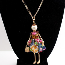 Charm Statement Flower Doll Necklace Long Gold Chain Dress Handmade French Doll Pendant News Alloy Girls Women Fashion Jewelry(China)