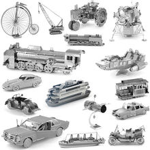 DIY 3D Metal Puzzles for children Adults Model Jigsaw Metal Taxi Crane Bike Ford Nissan car Tramcar puzzles educational toys