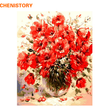 CHENISTORY Red Colorful Flower Diy Digital Painting By Numbers Kits Drawing Paint By Numbers Unique Gift For Home Decor Artwork(China)