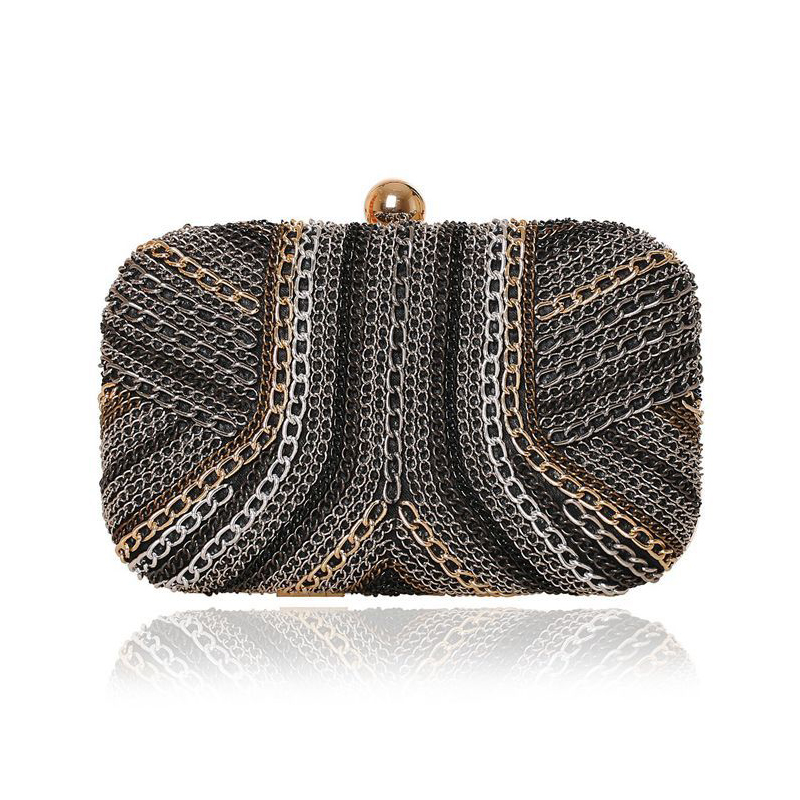 StreamPunk Iron Chains Clutch Handbag Geometric Metal Evening Bags Womens Wallet Messenger Bag Street Shoulder Bag<br>
