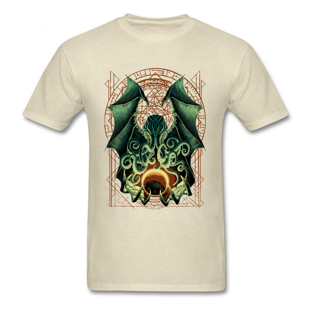 Printed CTHULHU-0601 Printed On Short Sleeve Labor Day Tees 2018 Hot Sale Round Neck Pure Cotton Sweatshirts Men T Shirts CTHULHU-0601 beige