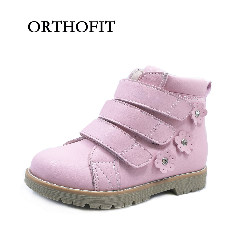 Lovely Pink Flower Kids Genuine Leather Girls Orthopedic Shoes For Spring And Autumn <br>