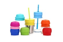 Spekids Pack of 4 Amazon hot selling FDA grade universal Silicone straw Lids for baby(China)