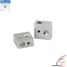 3PCS Aluminum Heater Block M6 Specialized for MK7 MK8 Makerbot 3D Printer Extruder 3D Printer Parts For Anet A6 And A8