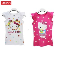 COSPOT Baby Girls Hello Kitty Short Sleeve Tshirt Gilr's Summer T-shirt Children's Cotton T shirt 2017 New Fashion Arrival 10D(China)