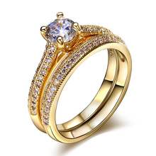 Real Austrian Crystals  Brand  gold Color  AAA Zirconia  Micro Inlays  Fashion Ring for women New Double Round RG10345