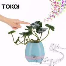 TOKQI Unique Plastic Smart Music Flower Pots Bluetooth Speaker Play The Piano Decoration Planter Night Light Touch Sensors