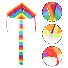 1 pcs High Quality Triangle Rainbow Kite Kids Children Beach Kite Nylon Outdoor Fun Sports Tools Without Flying Cable Colorful(China)