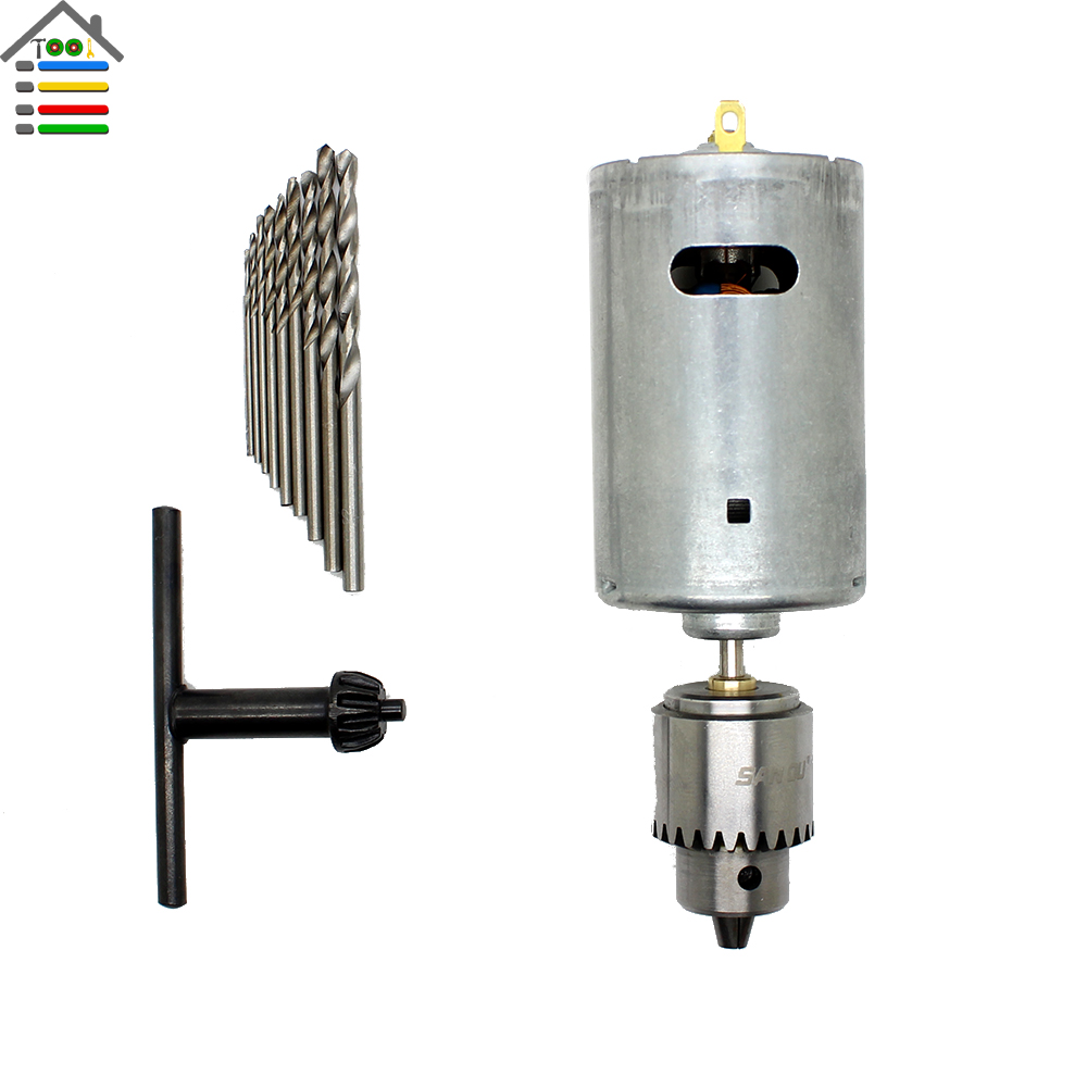 New DC 12-24V Electric Motor PCB Wood Drill Press Drilling Compact and 10PC 0.5-3.0mm Twist Bits with 1pc 0.3-4mm JTO Chucks<br><br>Aliexpress