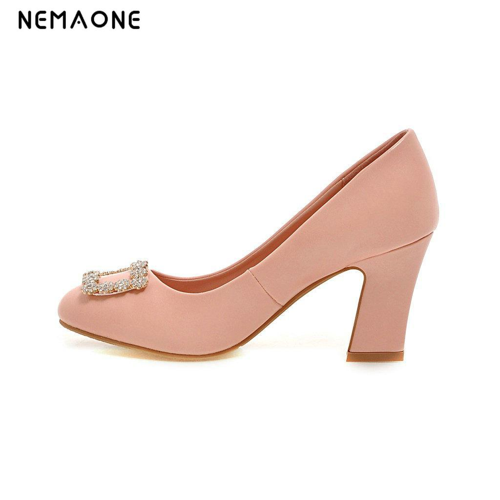 NEMAONE 2017 Fashion Shallow Thick High Heels Round Toe High Heels Platform Pumps Shoes Sexy Buckle Strap Pumps Hot Sale<br>