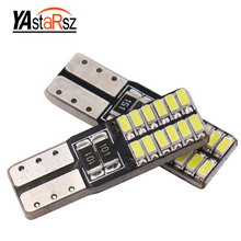 1x Super bright 24 SMD 4014 led car light 12V w5w T10 led auto canbus cob externa clearance bulb door reading lamp turn signal(China)