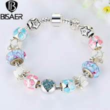 "925 Silver Heart Start Crystals ""LOVE"" Colorful Murano Beads Charm Fit Charm Chain Bracelet for Women Fine Jewelry Special Store"