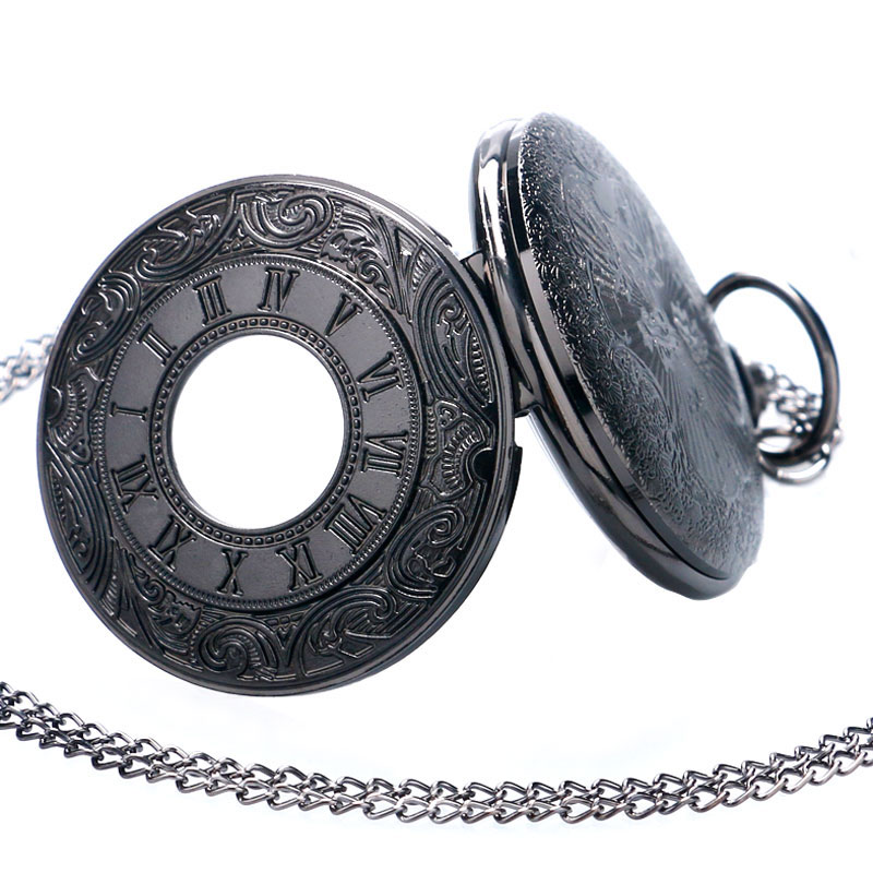 Vintage Black Unisex Pocket Watch Gift Set Fashion Roman Number Quartz Steampunk Christmas Women Man Necklace with Gift Box (7)