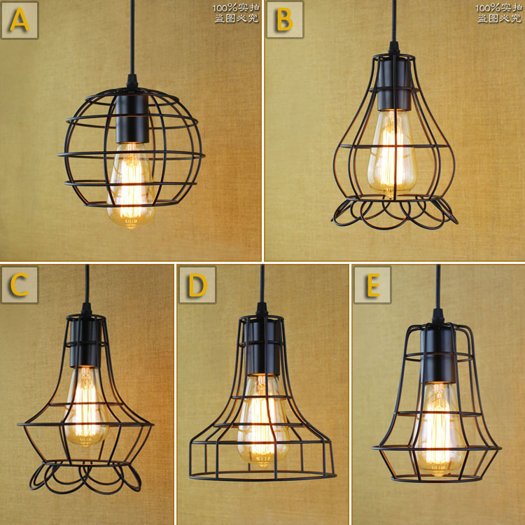Retro indoor lighting Vintage pendant light LED lights Industrial Metal Cage iron lampshade warehouse style light fixture Bar<br>