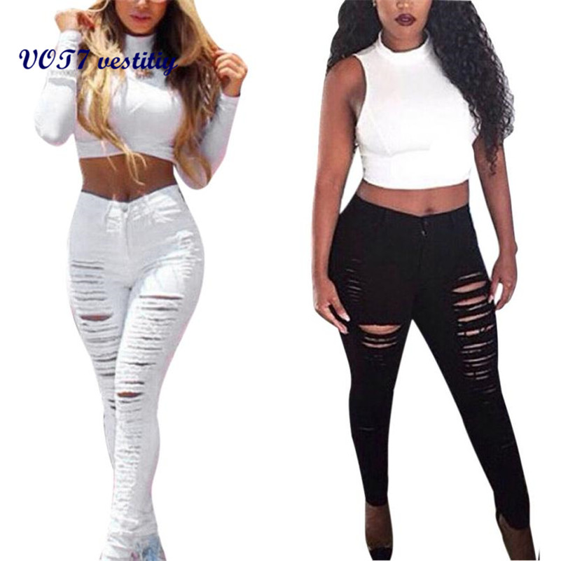 VOT7 vestitiy 2017 fashion Women High Waisted Skinny Denim Pants Slim Pencil Jeans Trousers JeansWomen Sep 8Одежда и ак�е��уары<br><br><br>Aliexpress