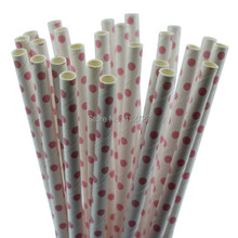Cute Party Summer light pink swiss dot Drinking Straws cool paper straws Wedding/Valentine/Christmas holiday party decoration