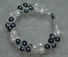 handmade multi-strands 5-6mm white/black cultured pearl bracelet magnetic clasp