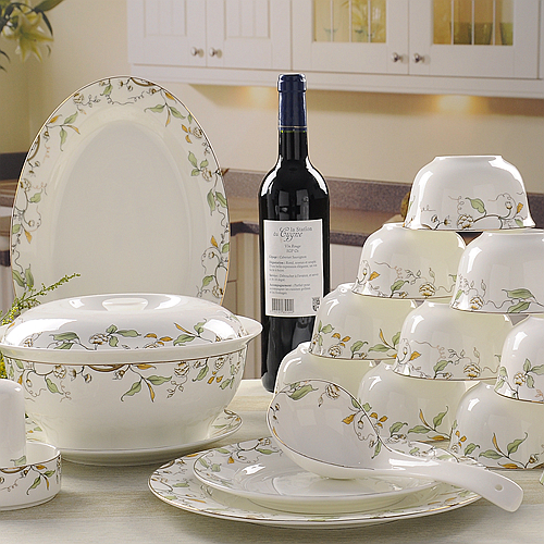 56 piece set royal floral painting fine bone china unit of dinner porcelain dinner plate set crockery set of dish - China Dinner Plates