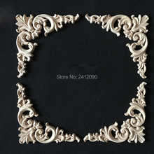 8 pcs Europe Antique Wood Carving Irregular Flowers Decorative Appliques Cabinet Door Furniture Frame Solid Wood Figurine Crafts(China)