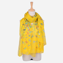 Emulation silk printing rural warm scarves butterfly wipes, summer, fall