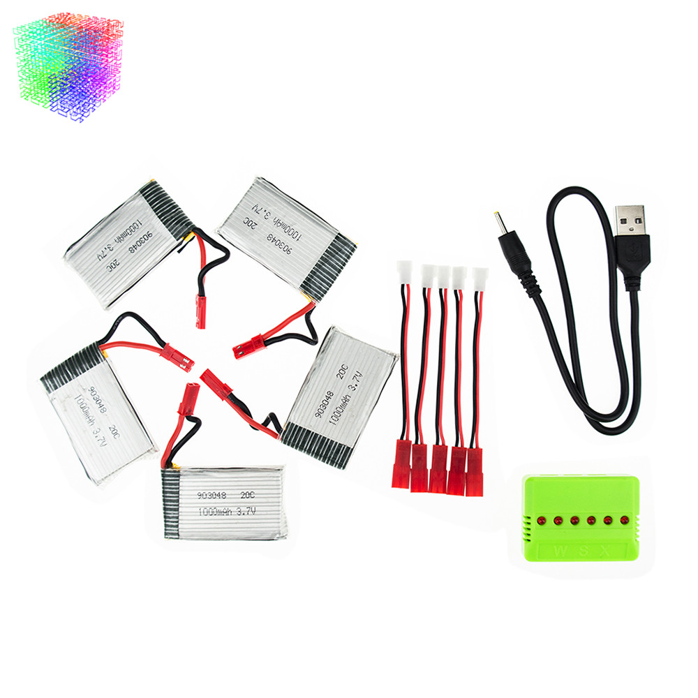 JJRC H11D lipo  3.7v 1000mah  battery JST batteries 5pcs and green  charger for JJRC H11C HQ898 rc Quadcopter drone Part<br><br>Aliexpress