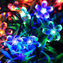 Wedding Decoration Artificial Flowers 50 Solar Powered String Lights Outdoor Flower Shape Garden Christmas Party Fake Flowers 20(China)