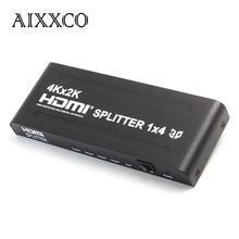 AIXXCO HD 4K x 2K 3D 1080p HD 1.4 HDMI Splitter 4 Port Hub Box Auto Switcher 1 In 4 Out  With POWER SWITCH