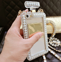 Popular perfume bottle For iPhone 6 Plus 6S 7 Plus 5S SE phone case diamond pearl soft shockproof With chain protection cover