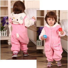 Cute Autumn Winter fleece Baby Romper Long Sleeve Coverall Hooded Infant Jumpsuit with kitty hat for Toodler