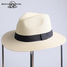 BINGYUANHAOXUAN 2018 Summer Sea Sun Hat Men Casual Holiday Panama Straw Hat  Women Wide Brim Beach Jazz Hats Foldable Hat 7081d7382f45