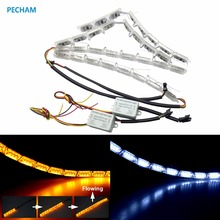 2PC/lot 12V Car LED Daytime Running Light Turn Signal Light Flowing yellow steady yellow Crystal led bar DRL Car Styling strip