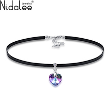 Nidalee Brand XILION Heart Pendant Choker Necklace Crystal From SWAROVSKI Rope Chain For Women Wedding Jewelry Mother's Day Gift