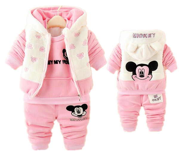 1-4years 3 pieces baby winter clothes set thick clothing warm winter jacket coat for baby girl boys Cartoon Mickey Mouse set<br><br>Aliexpress