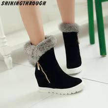 New Plush Fur Boots Hidden Wedges Platform Snow Boots Snow Shoes Woman Winter Shoes 2016 High Heels Keep Warm Winter Boots