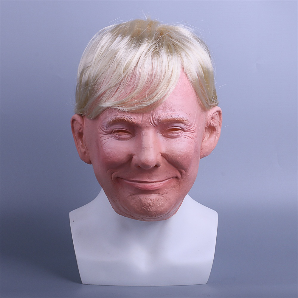 President Trump Mask Realistic Adults Halloween Deluxe Latex Full Head Donald Trump Mask with Hair (7)