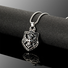 Men necklace Titanium Steel Pendant High quality Antique silver Cross Skeleton hollow knight Stainless steel necklace N010617