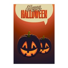 Decorative Garden Flags For Happy Halloween With Pumpkin Light Designed Double Sided Print Outdoor & Indoor Banner