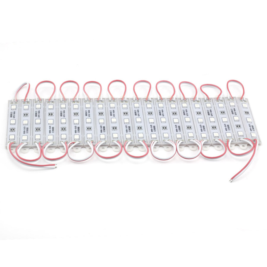 20PCS 3LEDs SMD 5050 LED Modules Light DC12V Waterproof Lamp Backlight for Billboard Advertising Light Warm White Red Green Blue (13)