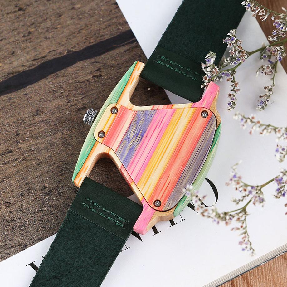 Creative Women Wood Watches Unique Colorful Wooden Triangle Hollow Quartz Wristwatch Ladies Elegant Fashion Genuine Leather Hour (12)