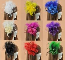 Wedding Bride Gauze Hair Clip Headdress Women Fancy Feather Top Fascinator Clip Party Cocktail Mini Hat Hairpin Wholesale 8pcs