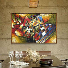 World famous paintings Picasso abstract painting Woman playing the guitar Hand painted oil painting on canvas Wall art picture