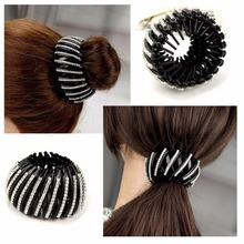 Shrinkable Hairpin 2016 New Womens Hair Accessories Bud Hair Clip Nest Shape Hair Ties Ponytail Holder Black Color Size L S HC58(China)