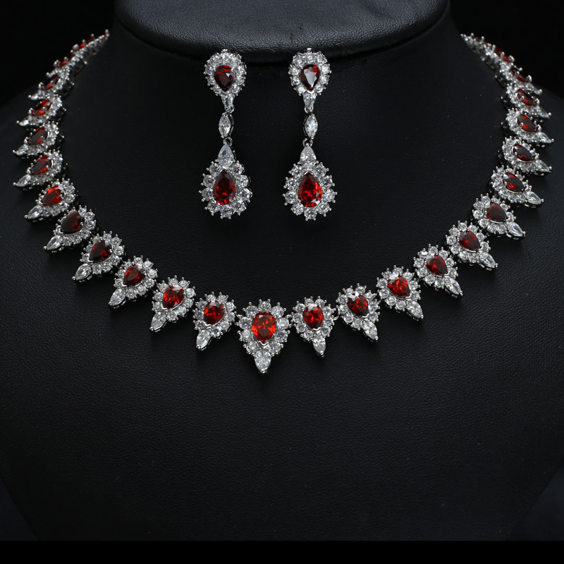 Red clor with white gold-color AAA Clear Cubic Zircon Jewelry Sets ,Earrings /Necklace,Promotion,Nickel Free, Factory price