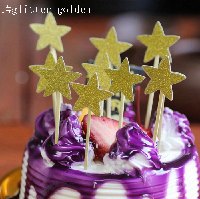 Cake Toppers Glitter Star Paper Cards Banner for Cupcake Wrapper ...