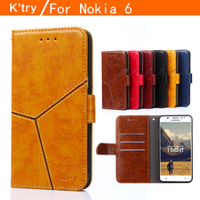 Nokia 6 Case Litchi Texture Leather Case for Nokia 6 Flip Cover Case Wallet Stand Style Magnetic Protective Shell With Card Slot(China)