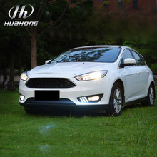 For Ford Focus 4 DRL 12V daytime running lights with yellow Turn signal Refit External lamps car-styling products accessory 2015