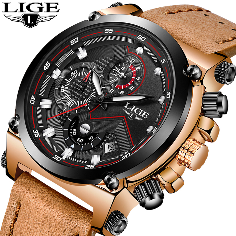 LIGE Mens Watches Top Brand Luxury Quartz Watch Men Fashion Waterproof Leather Army Military Sports Watch Man Relogio Masculino<br>