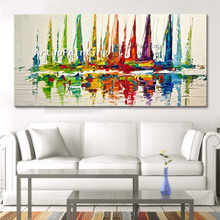 Canvas painting ,huge modern Hand painted yacht, wall pictures for living room home decor, wall art of boat quadros painting(China)