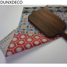 DUNXDECO 2PCS 45x45CM Vintage Dark Red Blue Geometric Cotton Table Placemat Decorative Napkin Tea Towel Photo Prop(China)